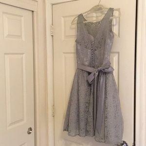 Grey lace bridesmaid or formal dress by Mori Lee